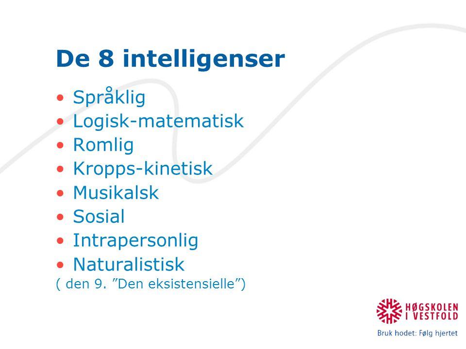 """De 8 intelligenser Språklig Logisk-matematisk Romlig Kropps-kinetisk Musikalsk Sosial Intrapersonlig Naturalistisk ( den 9. """"Den eksistensielle"""")"""