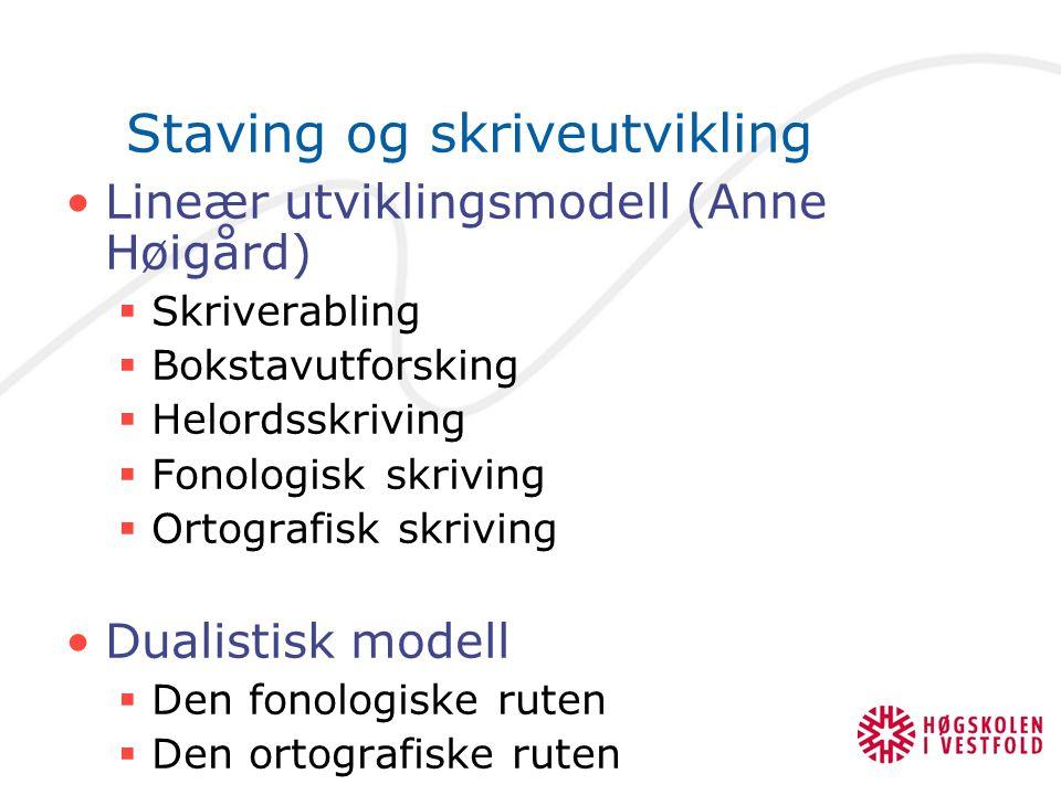 Staving og skriveutvikling Lineær utviklingsmodell (Anne Høigård)  Skriverabling  Bokstavutforsking  Helordsskriving  Fonologisk skriving  Ortogr