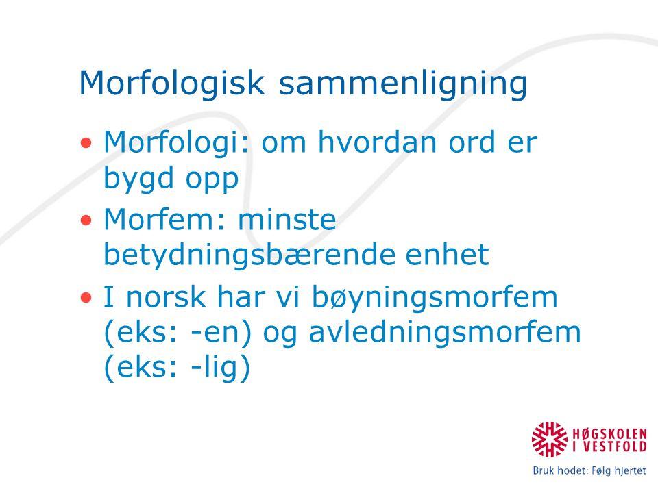 Morfologisk sammenligning Morfologi: om hvordan ord er bygd opp Morfem: minste betydningsbærende enhet I norsk har vi bøyningsmorfem (eks: -en) og avl