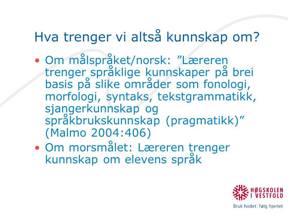 """Hva trenger vi altså kunnskap om? Om målspråket/norsk: """"Læreren trenger språklige kunnskaper på brei basis på slike områder som fonologi, morfologi, s"""
