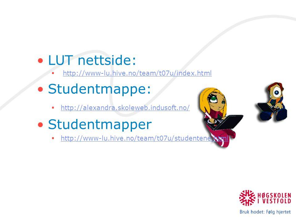 LUT nettside:  http://www-lu.hive.no/team/t07u/index.htmlhttp://www-lu.hive.no/team/t07u/index.html Studentmappe:  http://alexandra.skoleweb.indusoft.no/ http://alexandra.skoleweb.indusoft.no/ Studentmapper  http://www-lu.hive.no/team/t07u/studentene.html http://www-lu.hive.no/team/t07u/studentene.html