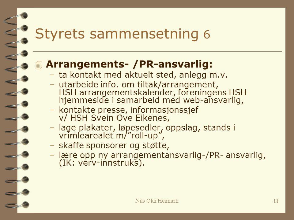 Nils Olai Heimark11 Styrets sammensetning 6 4 Arrangements- /PR-ansvarlig: –ta kontakt med aktuelt sted, anlegg m.v.