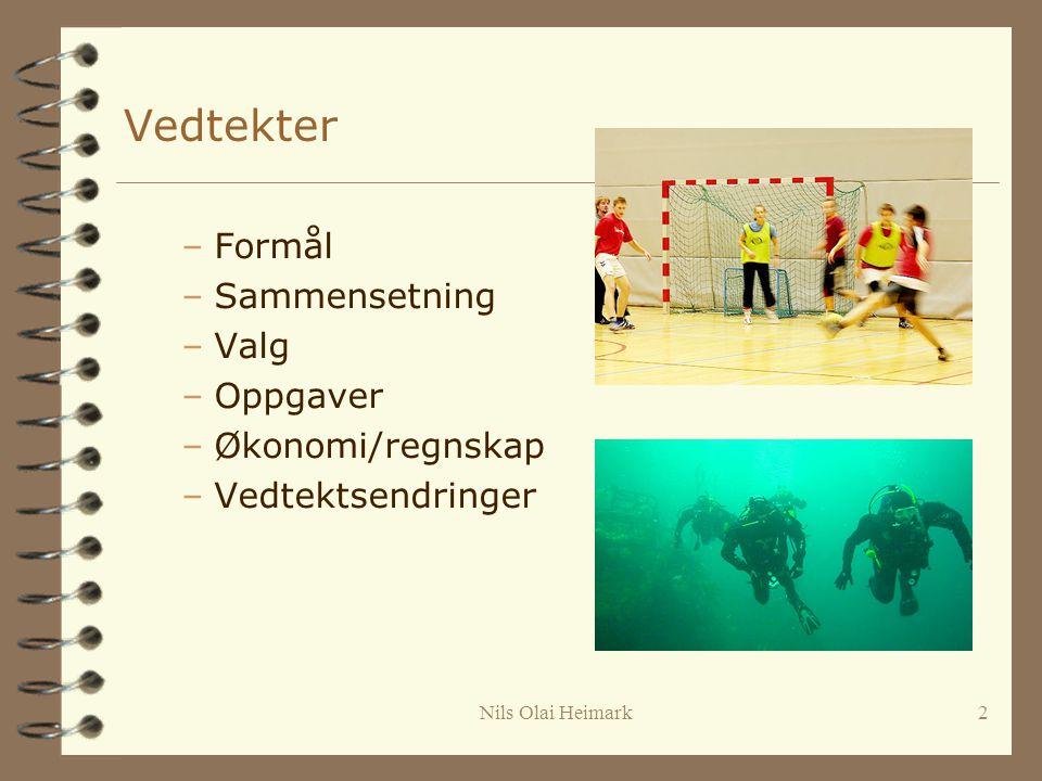 Nils Olai Heimark2 Vedtekter –Formål –Sammensetning –Valg –Oppgaver –Økonomi/regnskap –Vedtektsendringer