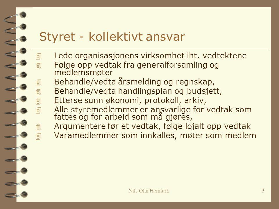 Nils Olai Heimark5 Styret - kollektivt ansvar 4 Lede organisasjonens virksomhet iht.