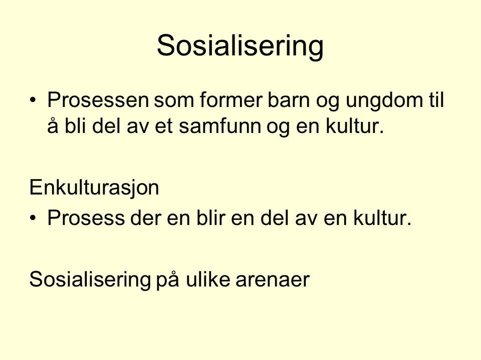 Sosialisering Prosessen som former barn og ungdom til å bli del av et samfunn og en kultur. Enkulturasjon Prosess der en blir en del av en kultur. Sos