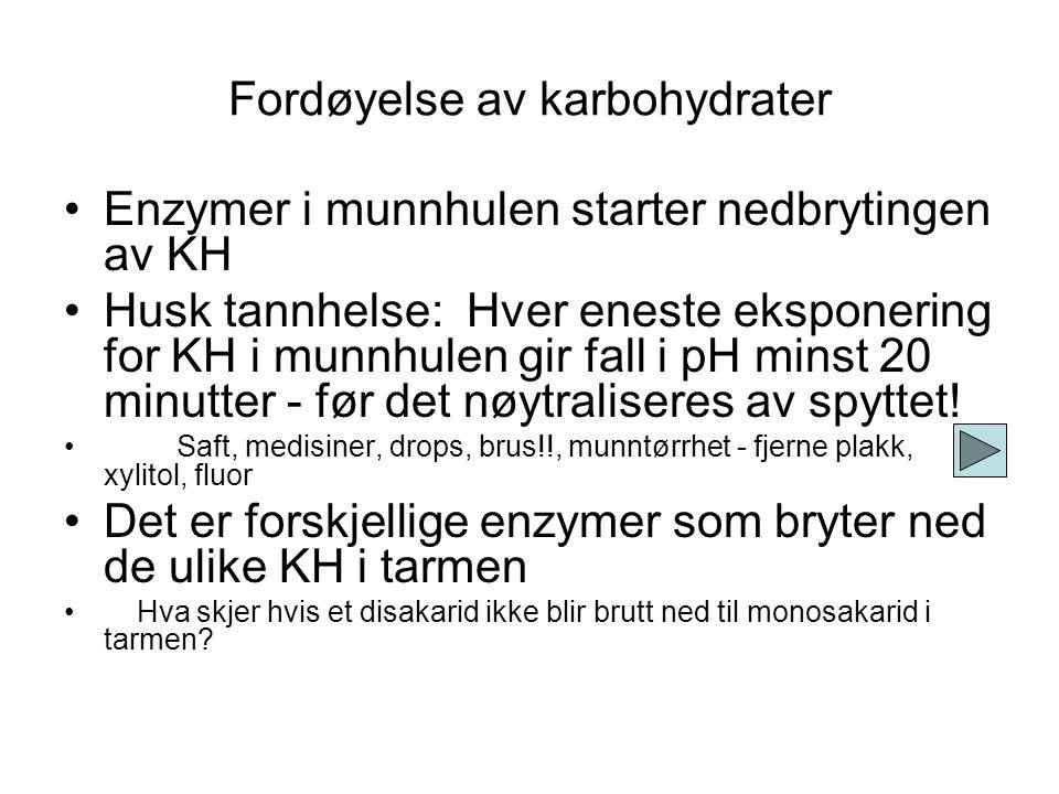 Karbohydrater Monosakarider Disakarider Polysakarider Glukose Fruktose Galaktose C 6 H 12 O 6 Sukrose Laktose Maltose Glukose + fruktose Galaktose + g