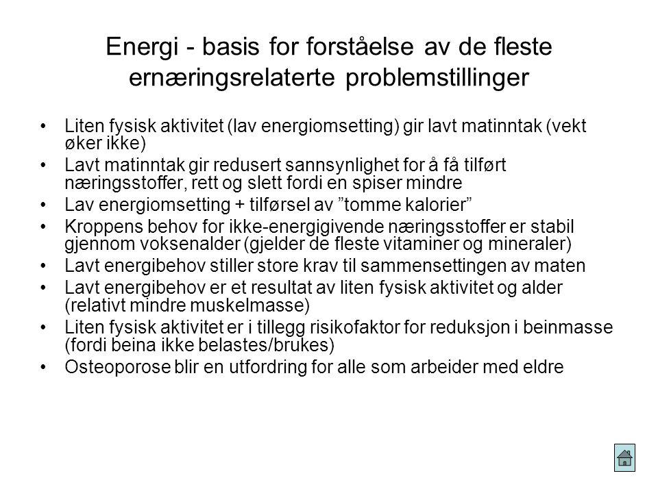 Energi - evnen til å utføre arbeid Definisjoner på energi Ulike typer energi som finnes Hvordan beregner vi energi: 1kJ (kilo)= 1000Joule og 1000kJ=1M