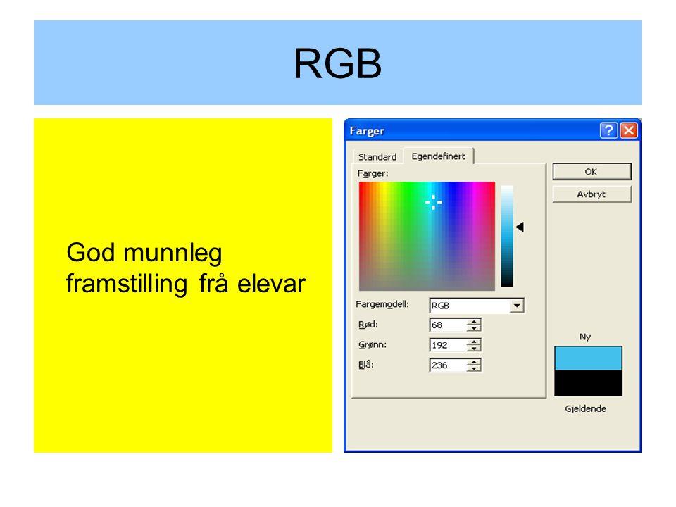 RGB God munnleg framstilling frå elevar