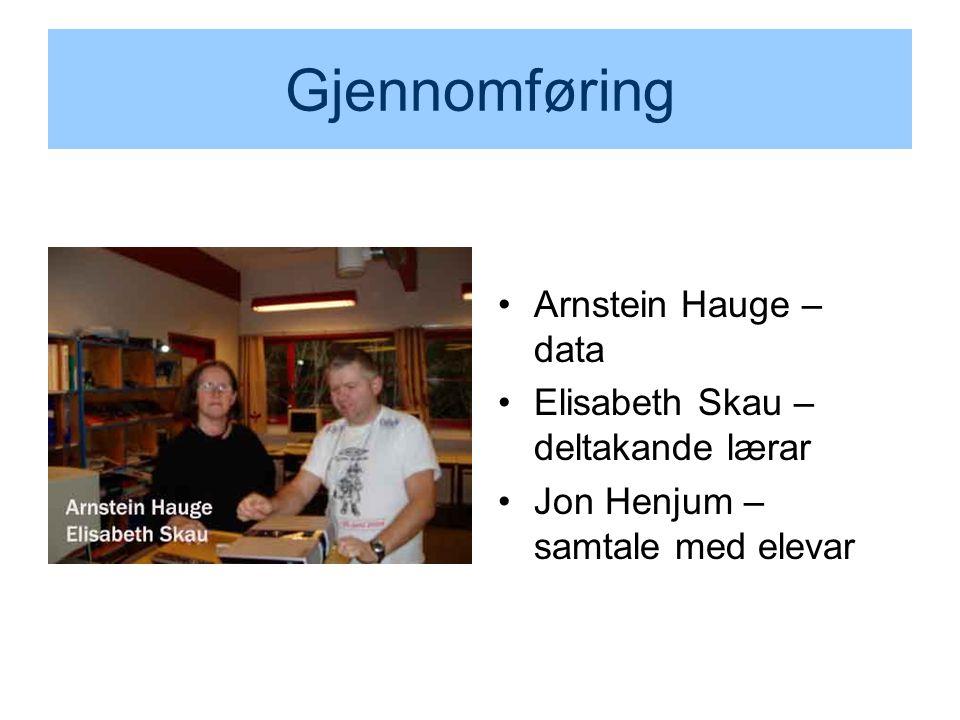 Gjennomføring Arnstein Hauge – data Elisabeth Skau – deltakande lærar Jon Henjum – samtale med elevar