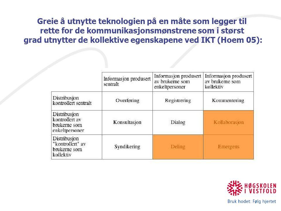 Greie å utnytte teknologien på en måte som legger til rette for de kommunikasjonsmønstrene som i størst grad utnytter de kollektive egenskapene ved IKT (Hoem 05):