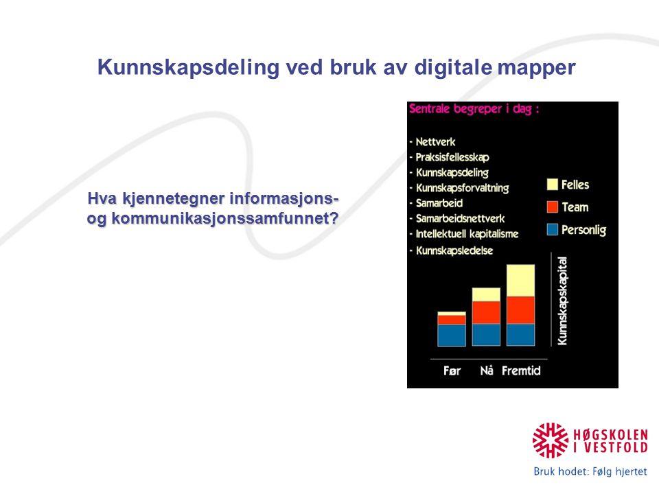 Kunnskapsdeling ved bruk av digitale mapper Hva kjennetegner informasjons- og kommunikasjonssamfunnet