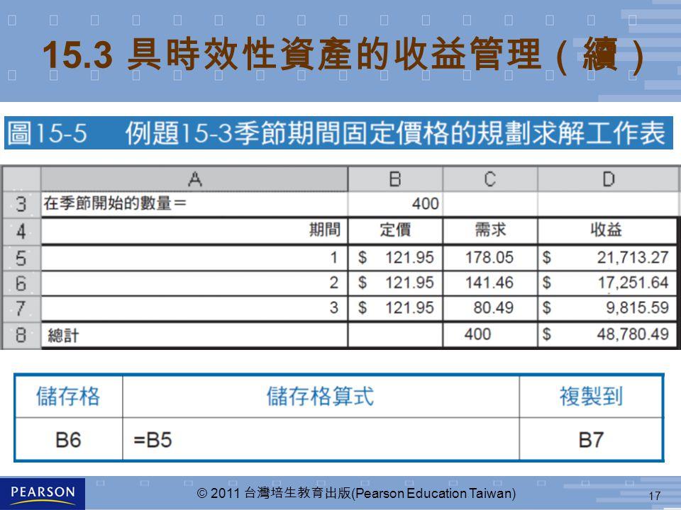 17 © 2011 台灣培生教育出版 (Pearson Education Taiwan) 15.3 具時效性資產的收益管理(續)