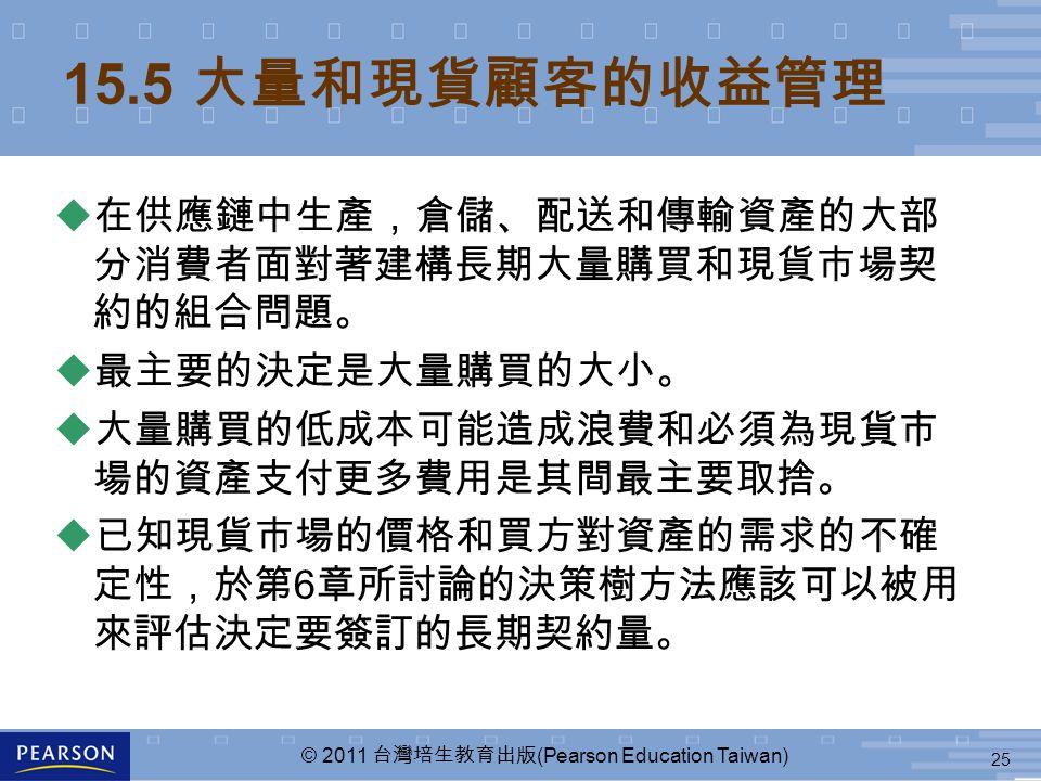 25 © 2011 台灣培生教育出版 (Pearson Education Taiwan) 15.5 大量和現貨顧客的收益管理  在供應鏈中生產,倉儲、配送和傳輸資產的大部 分消費者面對著建構長期大量購買和現貨市場契 約的組合問題。  最主要的決定是大量購買的大小。  大量購買的低成本可能造成浪費和必須為現貨市 場的資產支付更多費用是其間最主要取捨。 u 已知現貨市場的價格和買方對資產的需求的不確 定性,於第 6 章所討論的決策樹方法應該可以被用 來評估決定要簽訂的長期契約量。