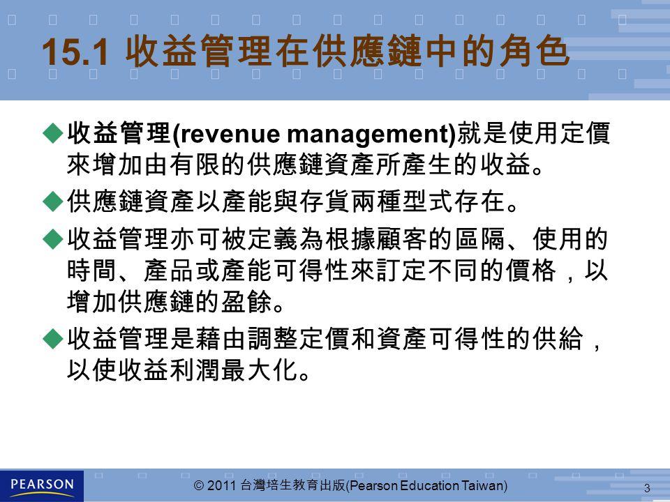 3 © 2011 台灣培生教育出版 (Pearson Education Taiwan) 15.1 收益管理在供應鏈中的角色 u 收益管理 (revenue management) 就是使用定價 來增加由有限的供應鏈資產所產生的收益。 u 供應鏈資產以產能與存貨兩種型式存在。 u 收益管理亦可被定義為根據顧客的區隔、使用的 時間、產品或產能可得性來訂定不同的價格,以 增加供應鏈的盈餘。 u 收益管理是藉由調整定價和資產可得性的供給, 以使收益利潤最大化。