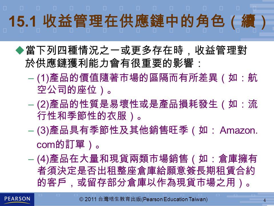 4 © 2011 台灣培生教育出版 (Pearson Education Taiwan) u 當下列四種情況之一或更多存在時,收益管理對 於供應鏈獲利能力會有很重要的影響: –(1) 產品的價值隨著市場的區隔而有所差異(如:航 空公司的座位)。 –(2) 產品的性質是易壞性或是產品損耗發生(如:流 行性和季節性的衣服)。 –(3) 產品具有季節性及其他銷售旺季(如: Amazon.