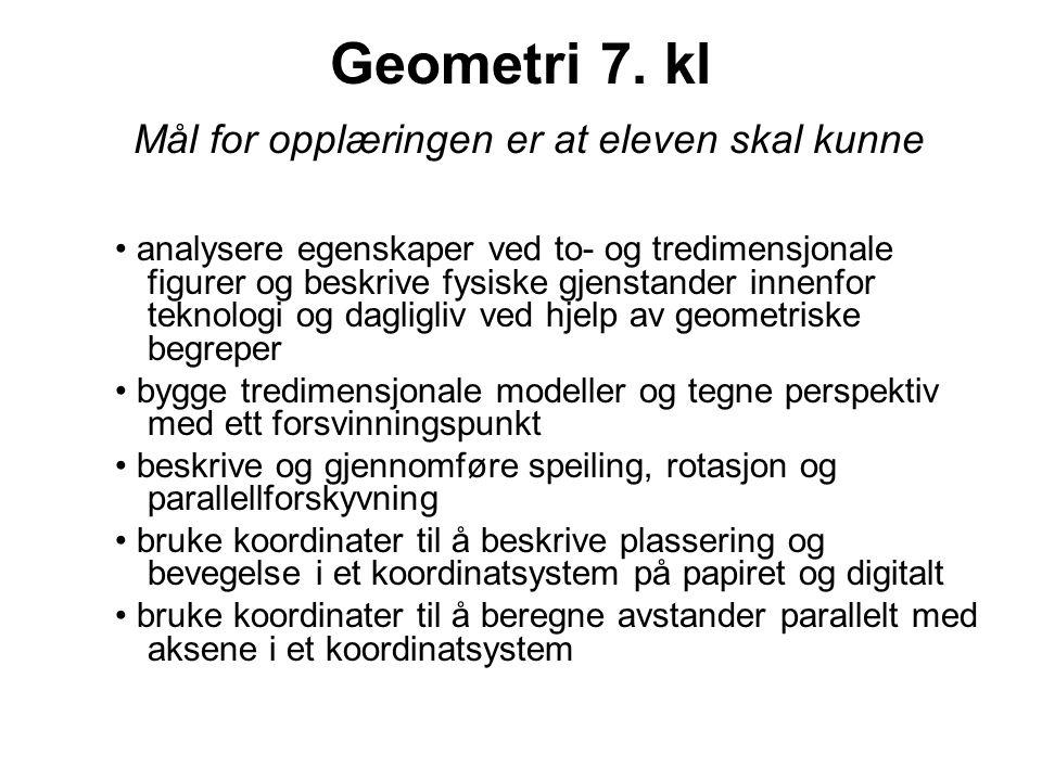 Geometri 10.kl Mål for opplæringen er at eleven skal kunne analysere, også digitalt, egenskaper ved to- og tredimensjonale figurer og anvende disse i forbindelse med konstruksjoner og beregninger utføre og begrunne geometriske konstruksjoner og avbildninger med passer og linjal og andre hjelpemidler bruke formlikhet og Pytagoras' setning i beregning av ukjente størrelser tolke og lage arbeidstegninger og perspektivtegninger med flere forsvinningspunkter ved hjelp av ulike hjelpemidler bruke koordinater til å avbilde figurer og til å finne egenskaper ved geometriske former utforske, eksperimentere med og formulere logiske resonnementer ved hjelp av geometriske ideer og gjøre rede for geometriske forhold av særlig betydning innenfor teknologi, kunst og arkitektur