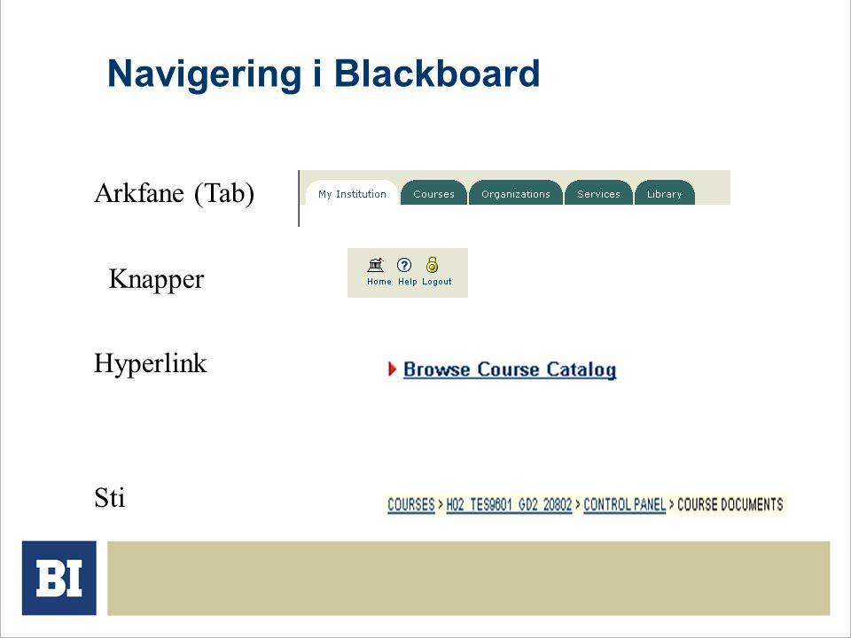 Navigering i Blackboard Arkfane (Tab) Knapper Hyperlink Sti