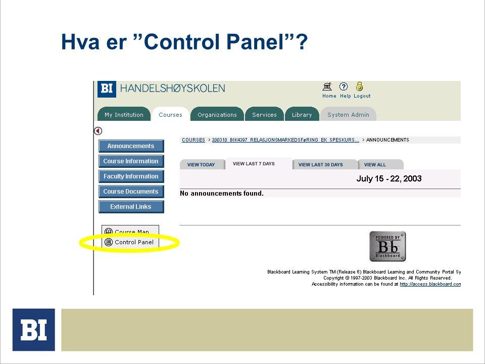 Hva er Control Panel