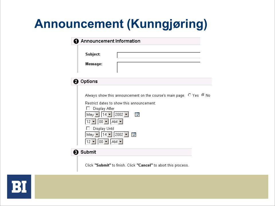 Announcement (Kunngjøring)
