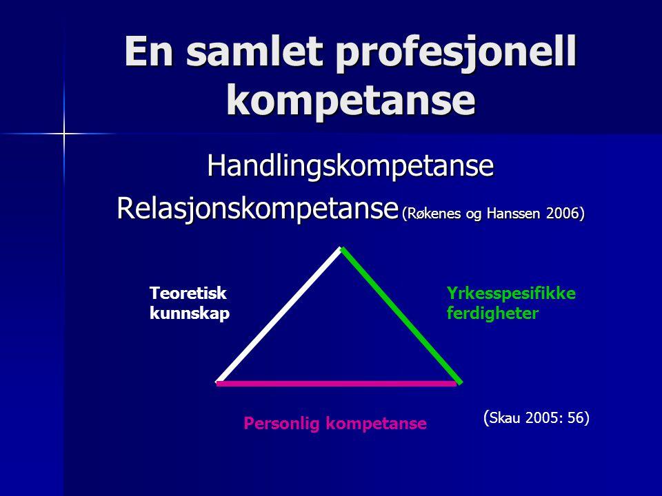 En samlet profesjonell kompetanse Handlingskompetanse Relasjonskompetanse (Røkenes og Hanssen 2006) Teoretisk kunnskap Yrkesspesifikke ferdigheter Personlig kompetanse ( Skau 2005: 56)