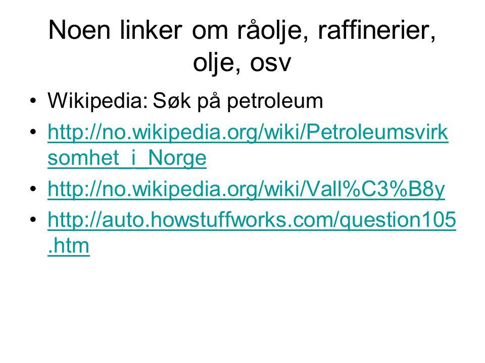 Noen linker om råolje, raffinerier, olje, osv Wikipedia: Søk på petroleum http://no.wikipedia.org/wiki/Petroleumsvirk somhet_i_Norgehttp://no.wikipedi