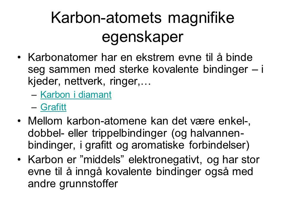 Karbon-atomets magnifike egenskaper Karbonatomer har en ekstrem evne til å binde seg sammen med sterke kovalente bindinger – i kjeder, nettverk, ringe
