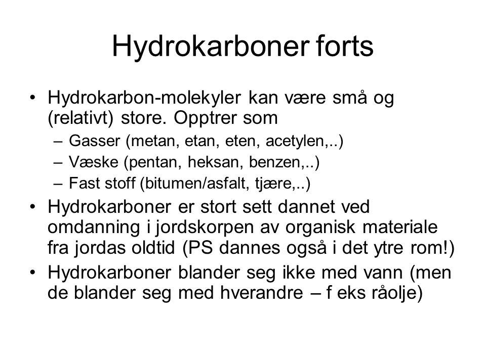 Hydrokarboner forts Hydrokarboner er de enkleste organiske stoffene (bare C og H).