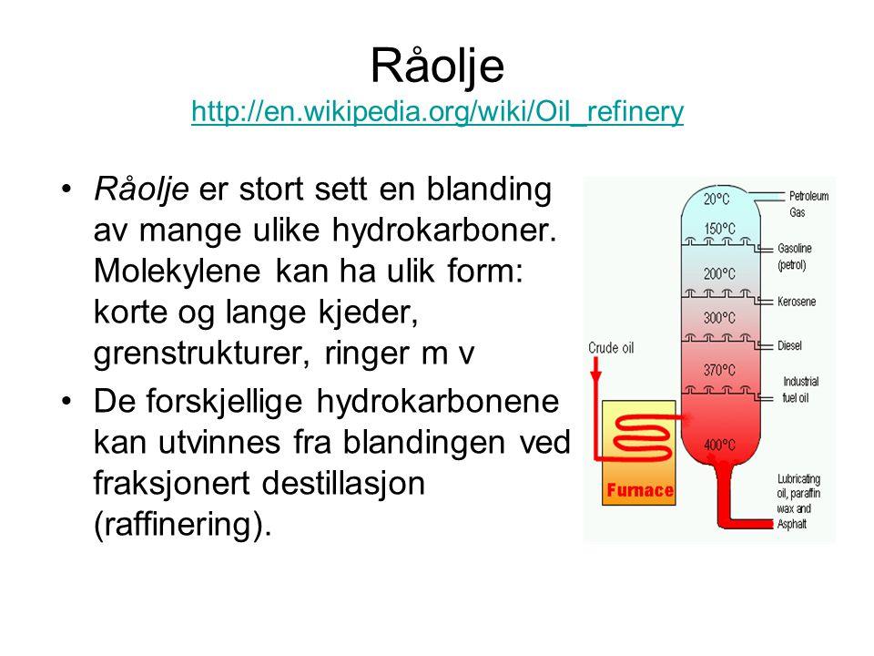 Råolje http://en.wikipedia.org/wiki/Oil_refinery http://en.wikipedia.org/wiki/Oil_refinery Råolje er stort sett en blanding av mange ulike hydrokarbon