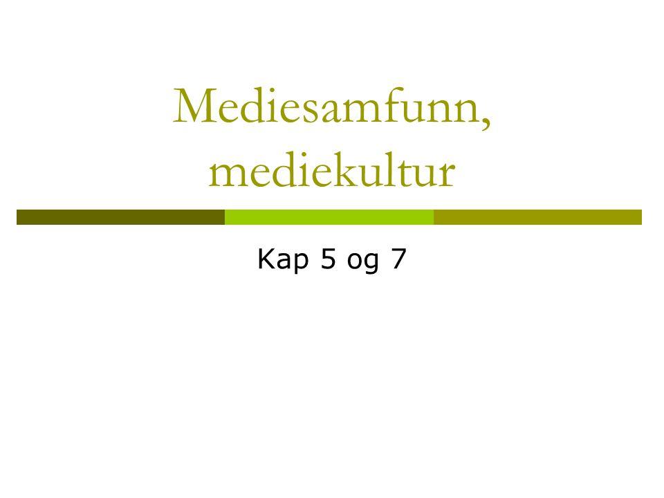 Mediesamfunn, mediekultur Kap 5 og 7