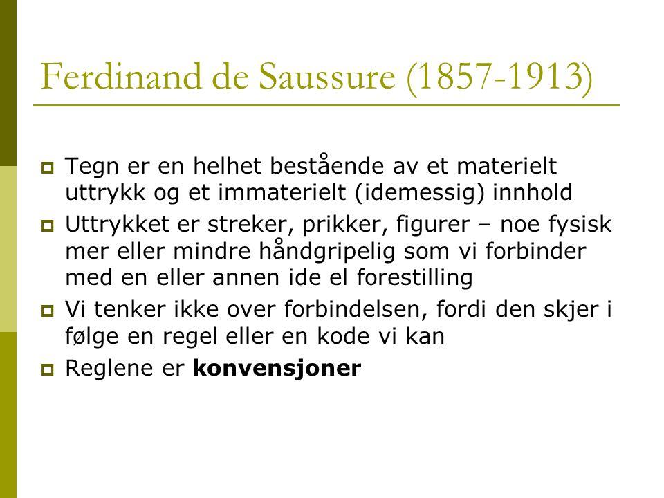 Ferdinand de Saussure (1857-1913)  Tegn er en helhet bestående av et materielt uttrykk og et immaterielt (idemessig) innhold  Uttrykket er streker,