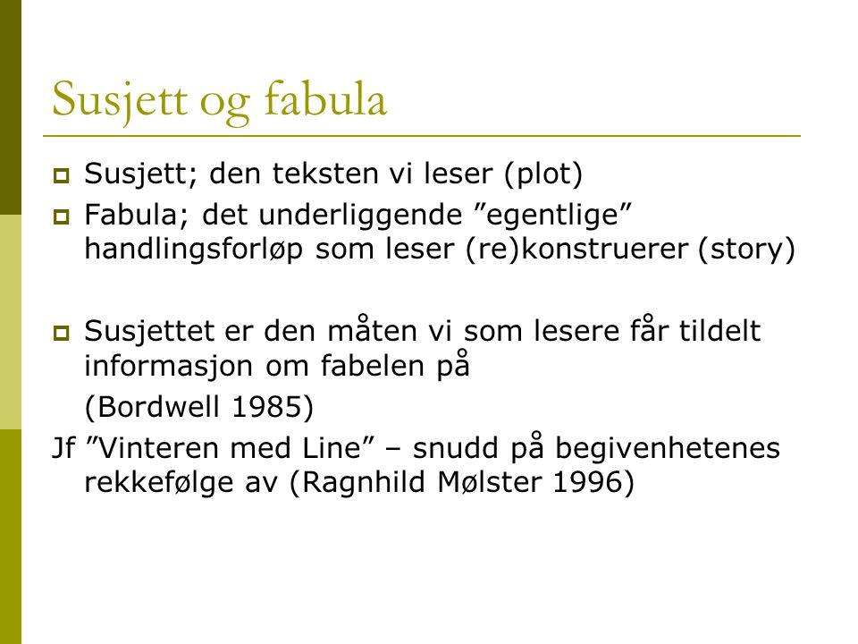 """Susjett og fabula  Susjett; den teksten vi leser (plot)  Fabula; det underliggende """"egentlige"""" handlingsforløp som leser (re)konstruerer (story)  S"""