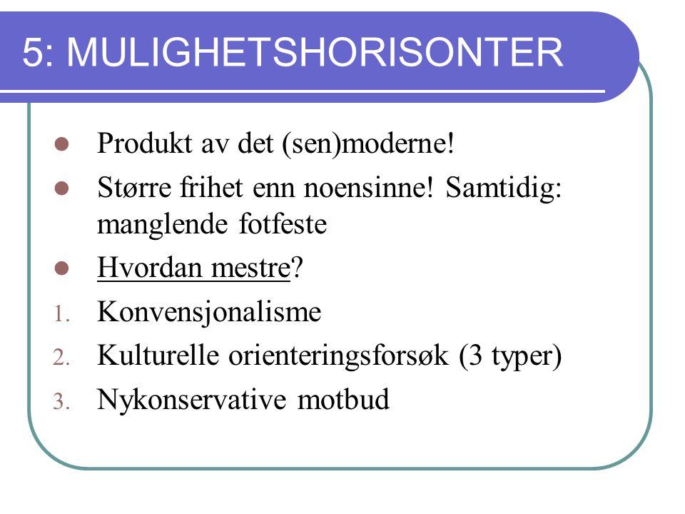5: MULIGHETSHORISONTER Produkt av det (sen)moderne.