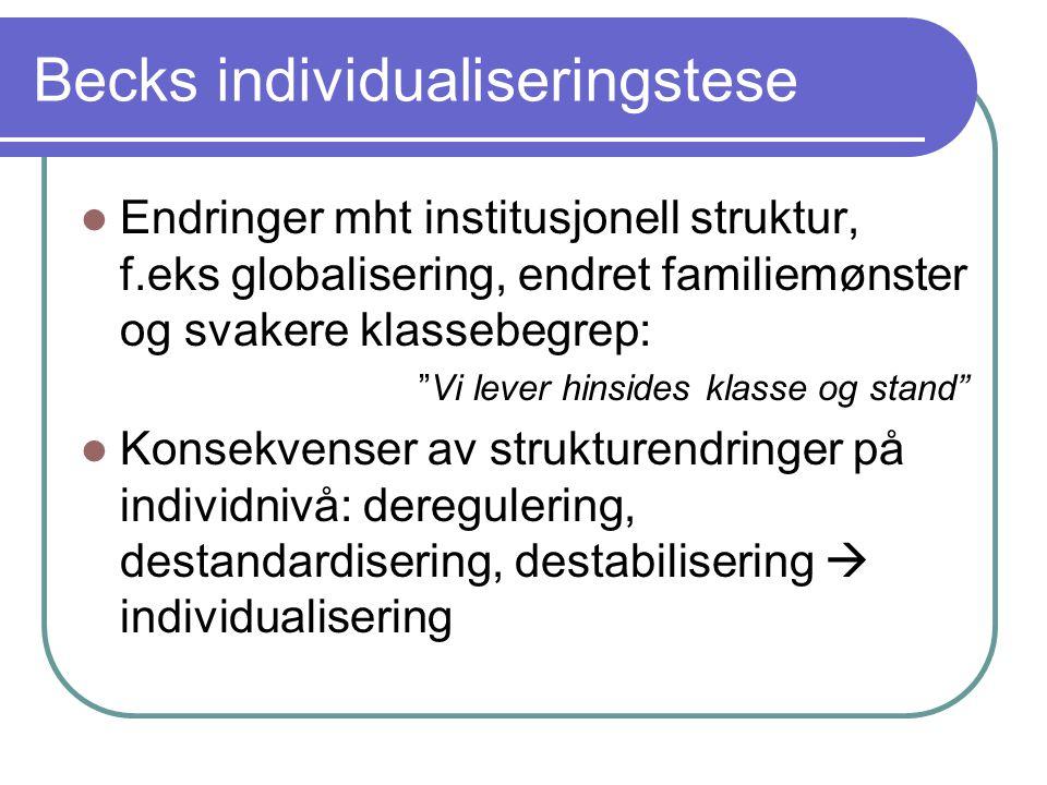 Becks individualiseringstese Endringer mht institusjonell struktur, f.eks globalisering, endret familiemønster og svakere klassebegrep: Vi lever hinsides klasse og stand Konsekvenser av strukturendringer på individnivå: deregulering, destandardisering, destabilisering  individualisering