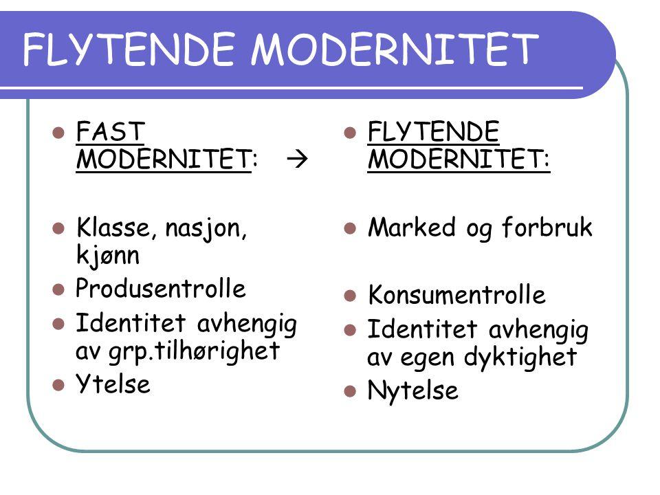 FLYTENDE MODERNITET FAST MODERNITET:  Klasse, nasjon, kjønn Produsentrolle Identitet avhengig av grp.tilhørighet Ytelse FLYTENDE MODERNITET: Marked og forbruk Konsumentrolle Identitet avhengig av egen dyktighet Nytelse