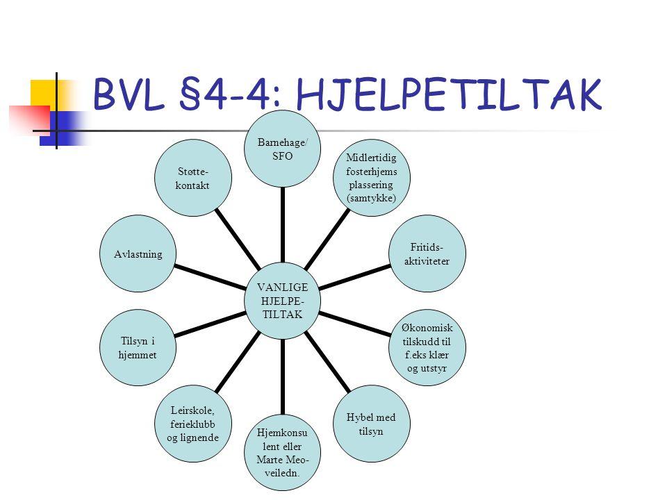 BVL §4-4: HJELPETILTAK VANLIGE HJELPE- TILTAK Barnehage/ SFO Midlertidig fosterhjemsplassering (samtykke) Fritids-aktiviteter Økonomisk tilskudd til f.eks klær og utstyr Hybel med tilsyn Hjemkonsulent eller Marte Meo- veiledn.