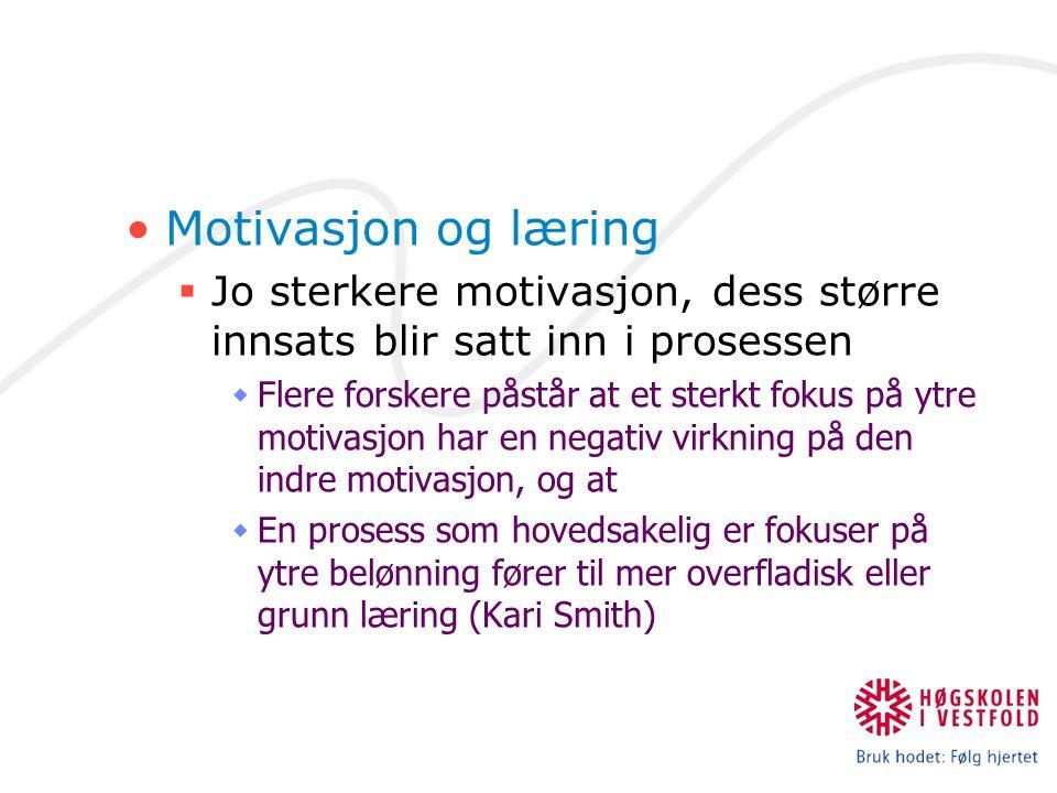 Motivasjon og læring  Jo sterkere motivasjon, dess større innsats blir satt inn i prosessen  Flere forskere påstår at et sterkt fokus på ytre motiva
