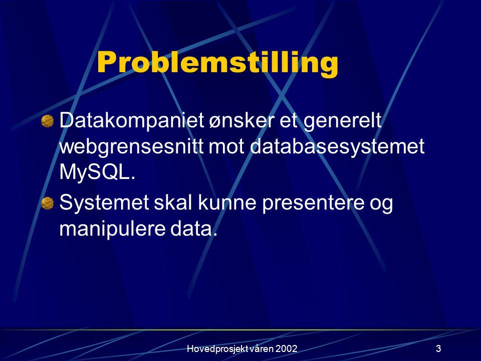 Hovedprosjekt våren 20023 Problemstilling Datakompaniet ønsker et generelt webgrensesnitt mot databasesystemet MySQL. Systemet skal kunne presentere o
