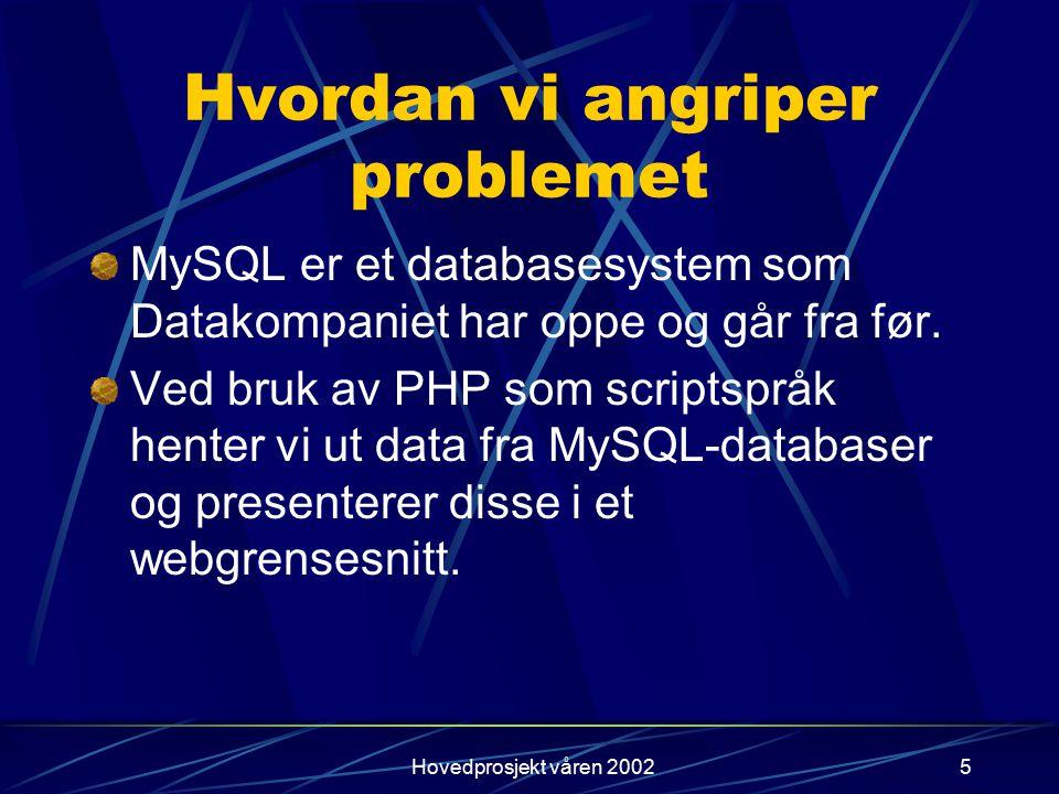 Hovedprosjekt våren 20025 Hvordan vi angriper problemet MySQL er et databasesystem som Datakompaniet har oppe og går fra før. Ved bruk av PHP som scri