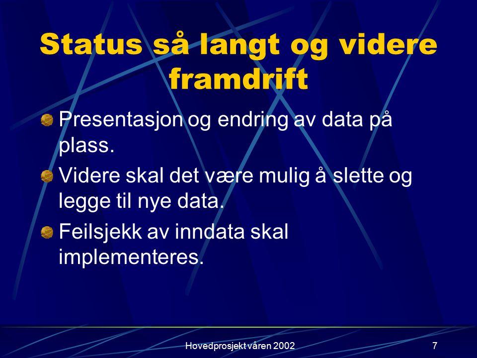 Hovedprosjekt våren 20027 Status så langt og videre framdrift Presentasjon og endring av data på plass. Videre skal det være mulig å slette og legge t