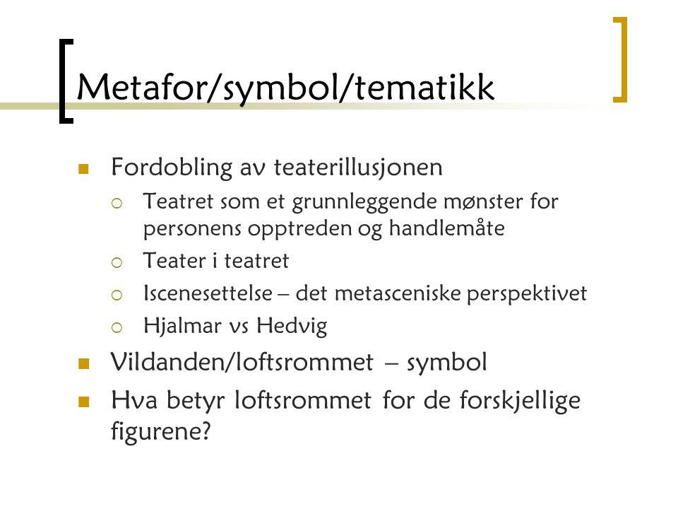 Metafor/symbol/tematikk Fordobling av teaterillusjonen  Teatret som et grunnleggende mønster for personens opptreden og handlemåte  Teater i teatret  Iscenesettelse – det metasceniske perspektivet  Hjalmar vs Hedvig Vildanden/loftsrommet – symbol Hva betyr loftsrommet for de forskjellige figurene?