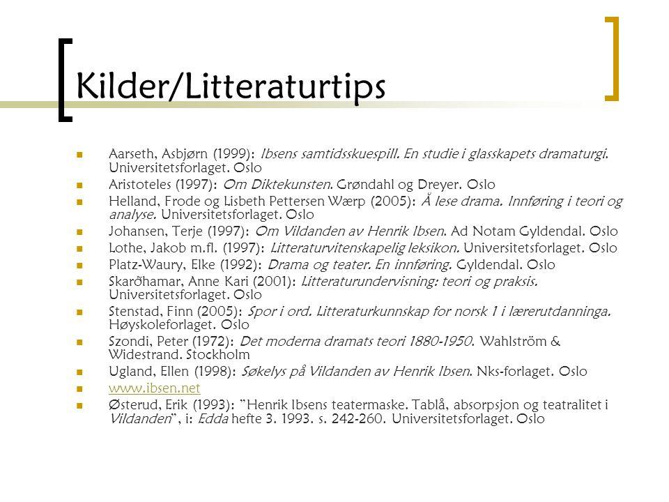 Kilder/Litteraturtips Aarseth, Asbjørn (1999): Ibsens samtidsskuespill.