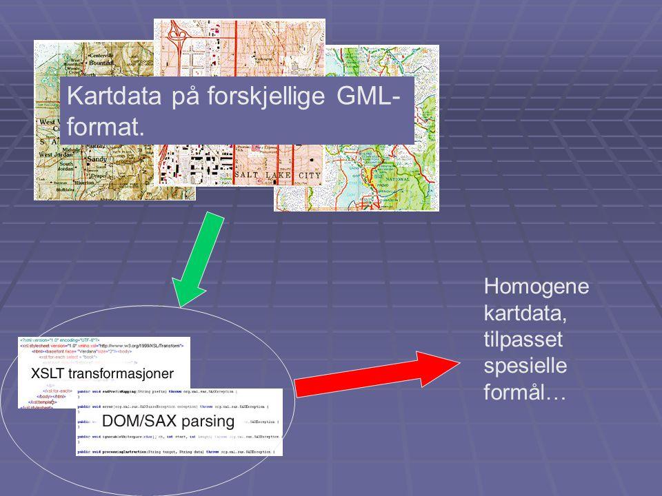 Homogene kartdata, tilpasset spesielle formål… Kartdata på forskjellige GML- format.