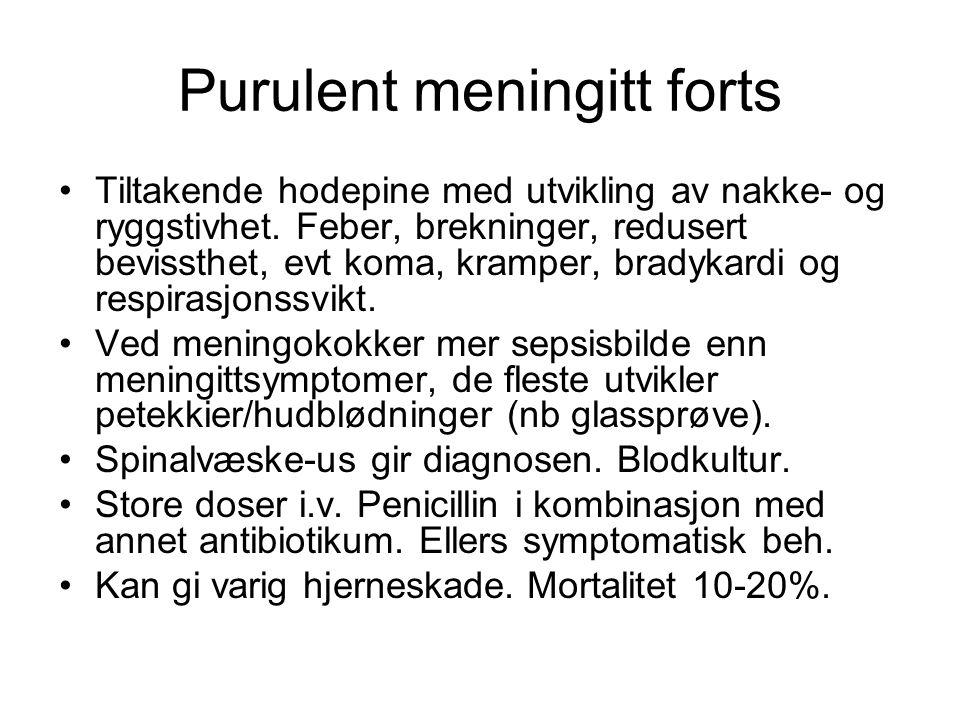 Serøs meningitt Skyldes som regel virus, evt sopp/TBC.