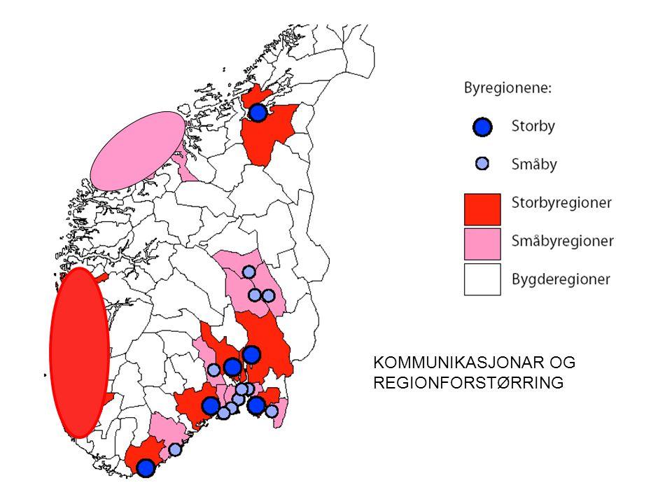 Tabell 3.Sysselsetting, fordeling og endring 2003 – økonomiske regionar.