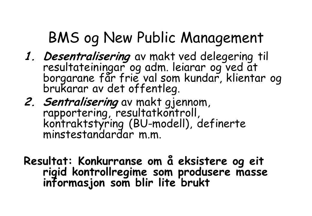 BMS og New Public Management 1.Desentralisering av makt ved delegering til resultateiningar og adm.
