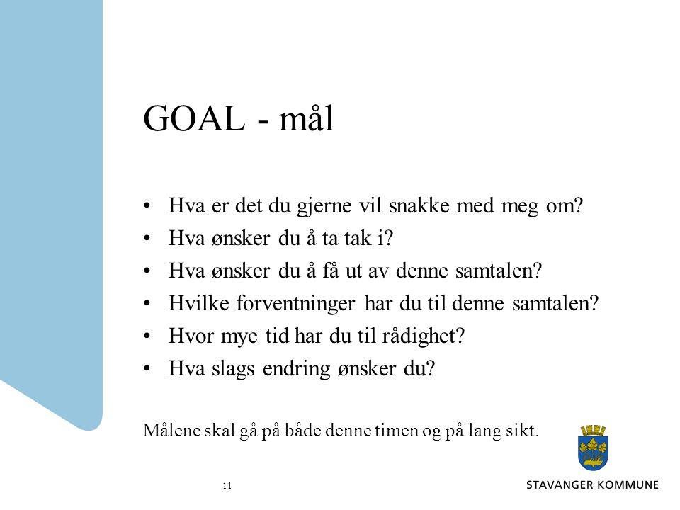 11 GOAL - mål Hva er det du gjerne vil snakke med meg om? Hva ønsker du å ta tak i? Hva ønsker du å få ut av denne samtalen? Hvilke forventninger har