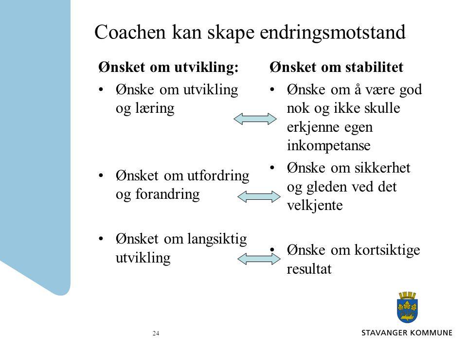 24 Coachen kan skape endringsmotstand Ønsket om utvikling: Ønske om utvikling og læring Ønsket om utfordring og forandring Ønsket om langsiktig utvikl