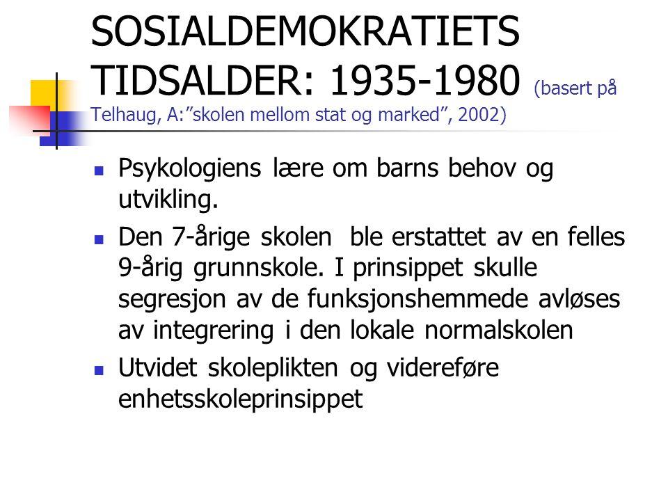 """SOSIALDEMOKRATIETS TIDSALDER: 1935-1980 (basert på Telhaug, A:""""skolen mellom stat og marked"""", 2002) Psykologiens lære om barns behov og utvikling. Den"""