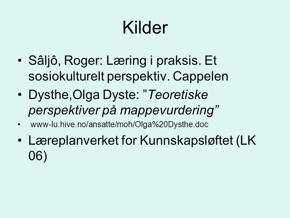 Kilder Sâljô, Roger: Læring i praksis.Et sosiokulturelt perspektiv.