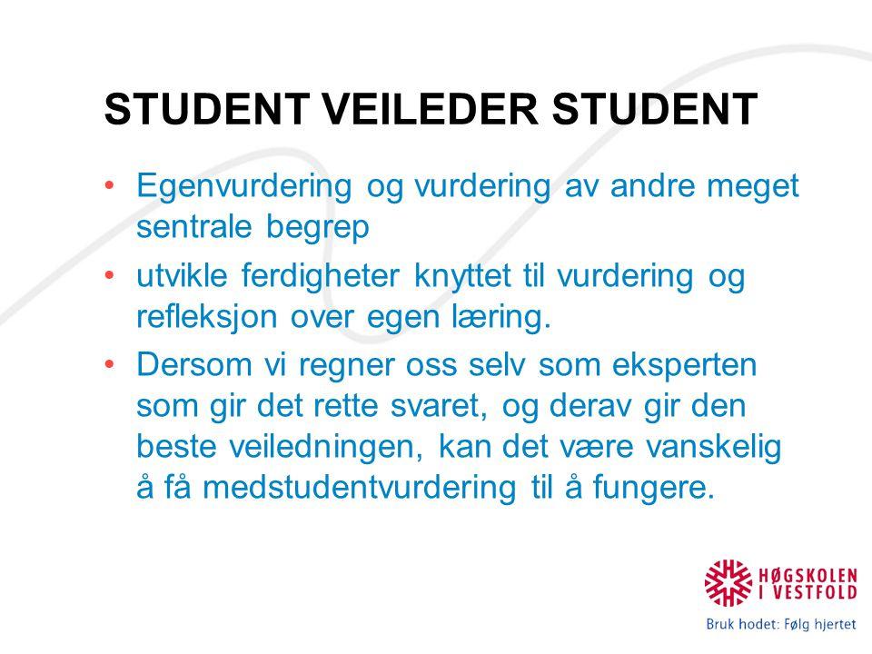 STUDENT VEILEDER STUDENT Egenvurdering og vurdering av andre meget sentrale begrep utvikle ferdigheter knyttet til vurdering og refleksjon over egen l